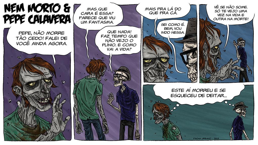 Nem Morto e Pepe Calavera - HQ para o livro Nem Morto 2, de Leo Finocchi.