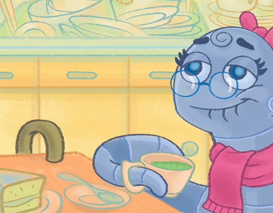 Nhoca e Miga - ilustração para o livro infantil A Minhoca Nhoca e a Formiga Miga, de Cezar Braga Said.