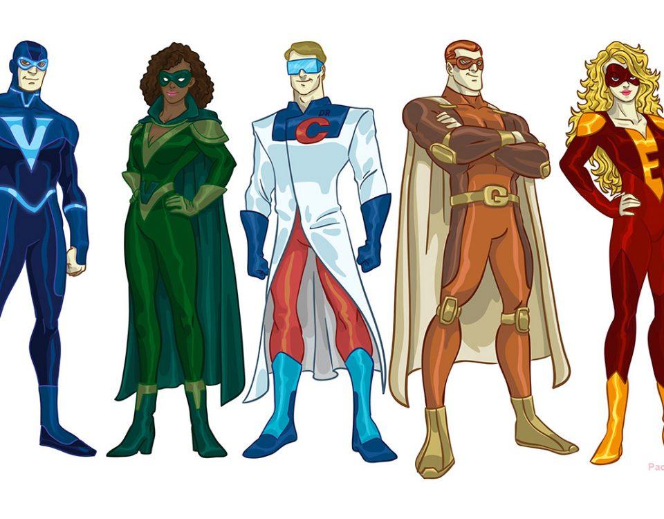 Super Aspen - personagens para endomarketing do grupo farmacêutico Aspen Pharma.